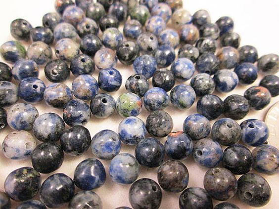 Close Out Beads Dumortierite Blue White 6mm round by FLcowgirls, $2.68