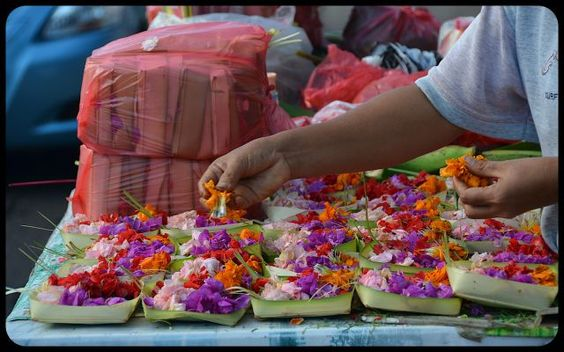 Flower offerings canang sari in Bali market