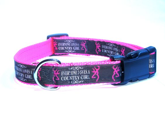 Pink browning dog collar. Want it?? go to www.etsy.com/shop/thekountrydog its only $12