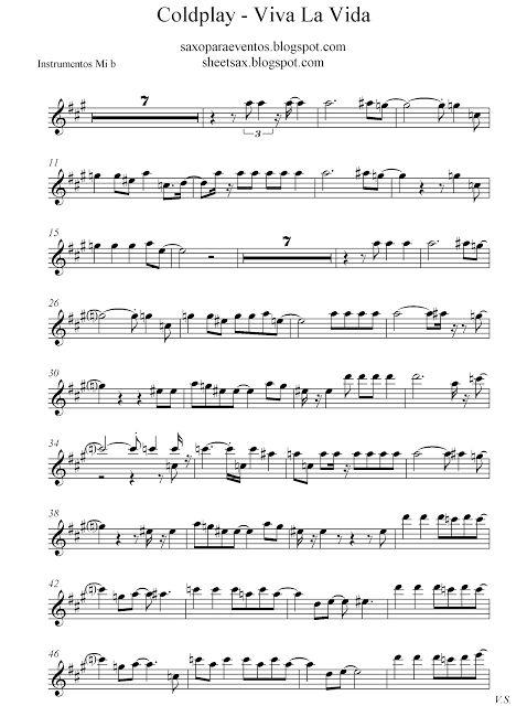#LaMúsicaLevantaElÁnimo Viva La Vida De Coldplay #Saxo #Trompeta, #Fliscorno #Corneta #Clarinete #Partitura #LaMusa