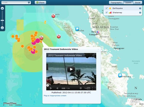 Earthquake: off the west coast of northern Sumatra  Magnitude: 8.6  Date and time: 4/11/2012 8:38:37 UTC   View map: www.esri.com/earthquakemap