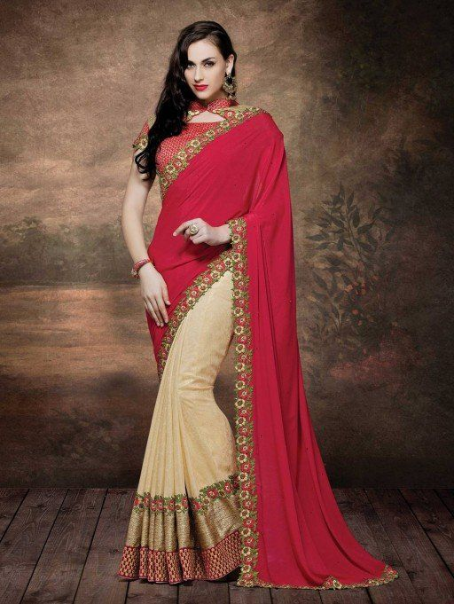Red and Beige Crepe Saree with Embroidery Work