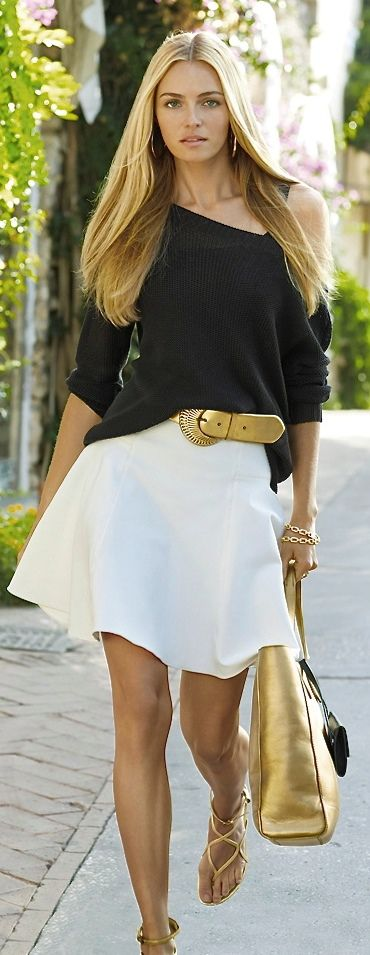 blanco - jersey negro & complementos dorado (de Ralph Lauren)