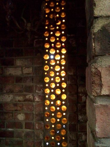 WC WineBottle Wall4. Strip of lighting. Reuse glass bottles, add passive lighting