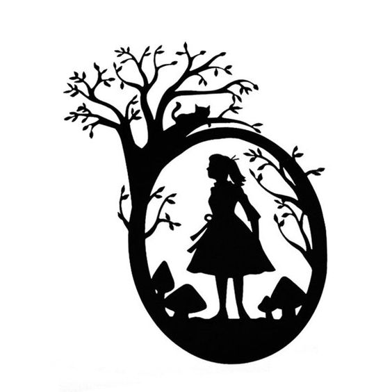 Alice silhouette cut paper art scherenschnitte in