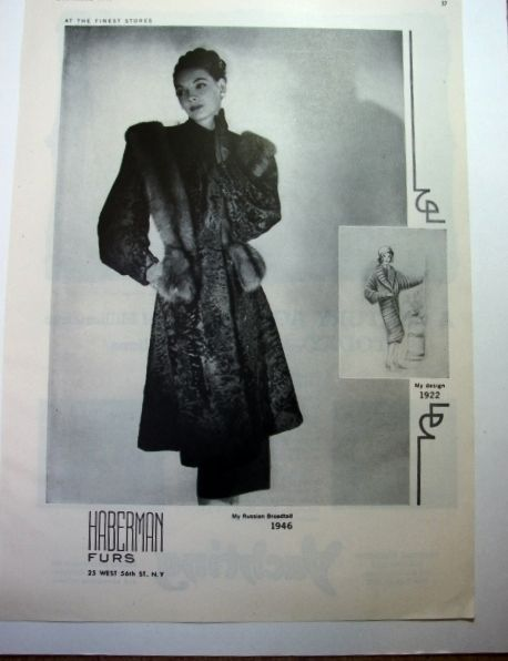 1946 HABERMAN Russian Broadtail LAMB FUR Coat Vintage FASHioN 1922 Flapper Ad in Collectibles | eBay