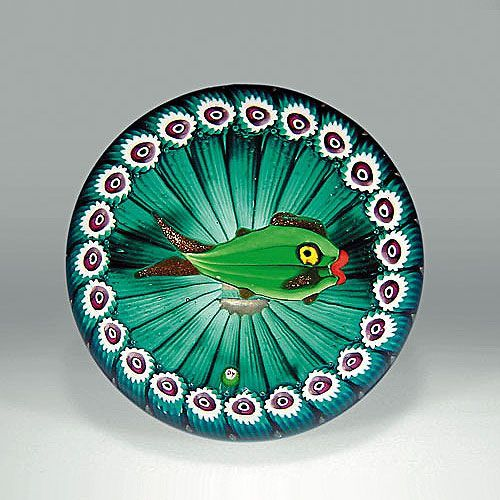 paul ysart green fish paperweight, with a bright green fish, Reel Combo