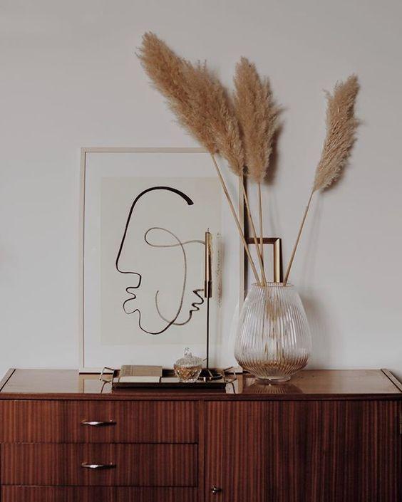 minimalist table design, flat lay inspiration, simple art, pampas grass, instagram aesthetic