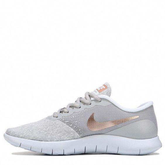 Nike Women S Flex Contact Running Shoes Grey Rose Gold Womensshoesprofessional Running Shoes Grey Running Shoes Fashion Nike Shoes Women