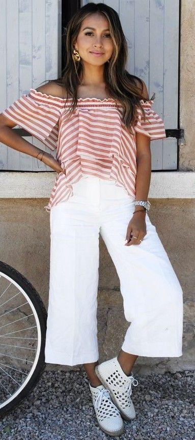 Striped Off The Shoulder Top + Wide Leg Pants
