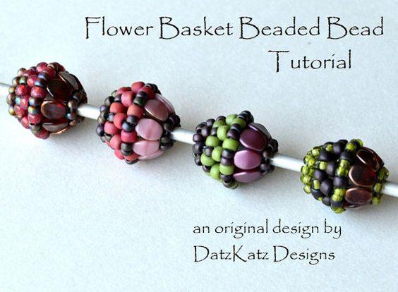 Korb Perlen Bead Tutorial Blumenperle Weberei Muster Prise Perle Design Oval Runde Perlen Perle von DatzKatz Designs