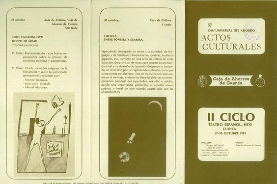 """""""II Ciclo Teatro Español, Hoy"""" con el patrocinio de la Caja de Ahorros de Cuenca con motivo del """"Día Universal del Ahorro"""" Organizado por la Asociación Amigos del Teatro Cuenca 1981 #Cuenca #Teatro #CajaCastillaMancha #AsociacionAmigosTeatroCuenca"""