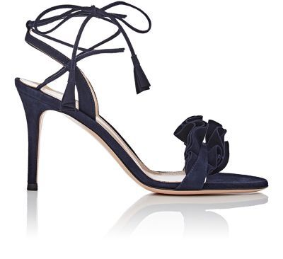 GIANVITO ROSSI Flora Suede Ankle-Tie Sandals. #gianvitorossi #shoes #sandals