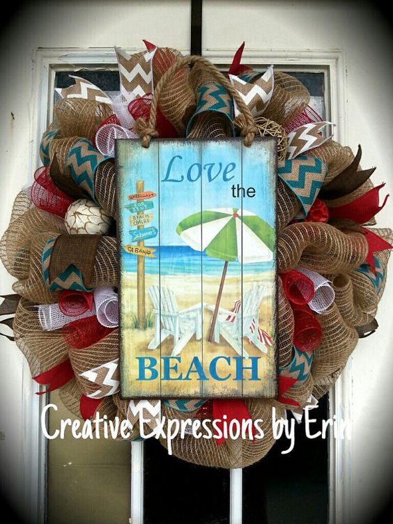 Summer Wreath Beach Wreath Burlap Wreath by CExpressionsbyErin