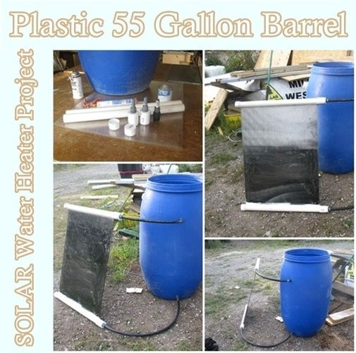 Plastic 55 Gallon Barrel Solar Water Heater Project Homesteading The Homestead Survival Com Please Share Solar Water Solar Heating Solar Water Heater