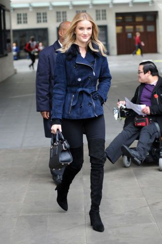 Classic denim will never go out of style. Click through for our favorite celebrities sporting the timeless trend: Rosie Huntington-Whiteley