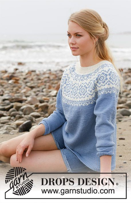 Periwinkle   DROPS 191-1 - Knitted jumper with round yoke f89c7944c758
