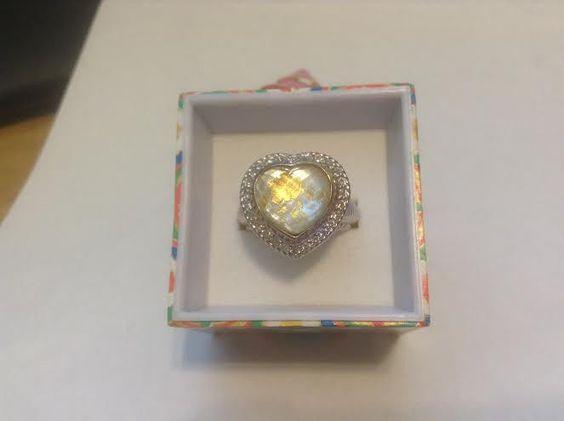 Judith Ripka Sterling Gemstone Doublet Heart Ring Retired Size 7