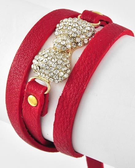 Gold Tone / Clear Rhinestone & Red Leatherette / Lead Compliant / Buckle Closure / Bow Tie / Wrap Bracelet