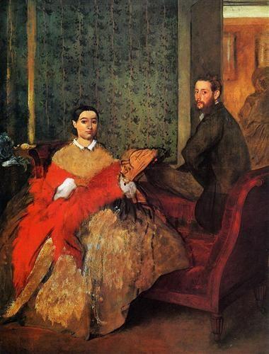 Edmondo and Therese Morbilli - Artista: Edgar Degas Data do início: 1865 Data da Conclusão:1866 Estilo: Impressionism Género: portrait Técnica: oil Material: canvas Galeria: National Gallery of Art, Washingon, DC, USA