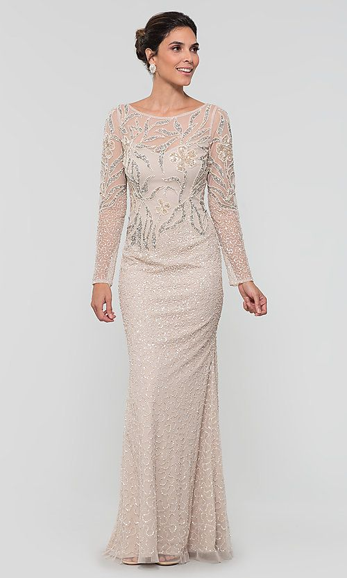 Long Adrianna Papell Beaded Mob Dress With Sleeves Long Mothers Dress Mob Dresses Mother Of The Bride Dresses Long