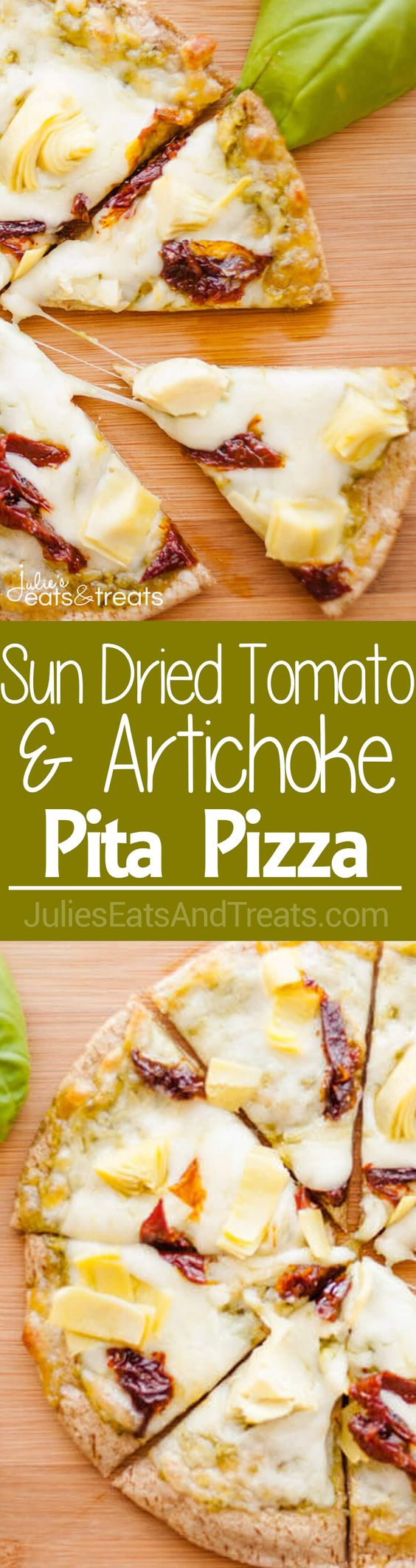 Sun-dried Tomato and Artichoke Pita Pizza ~ The Perfect Light Lunch Packed with Flavor! Only Ten Minutes and these are ready to eat! ~ http://www.julieseatsandtreats.com