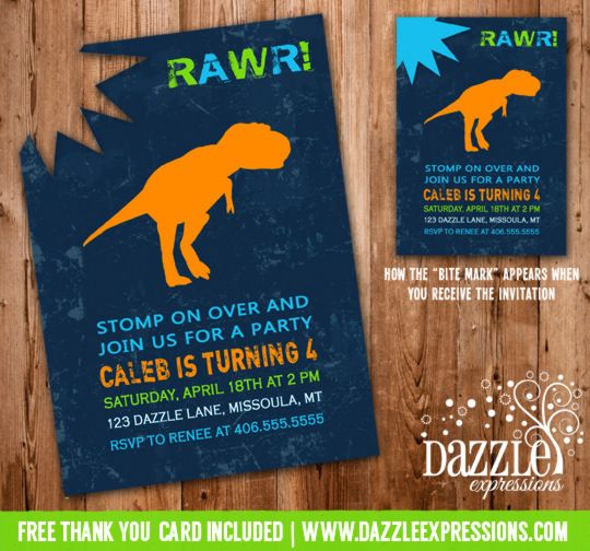 "modern dinosaur birthday invitation with ""bite"" mark 