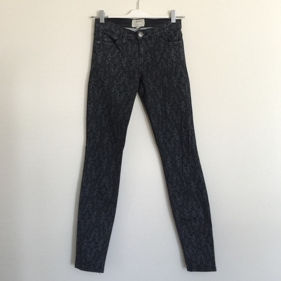 "Current/Elliott black antique lace ankle skinny 25 Like new condition. Only worn one time! Size 25. 7.5"" rise, 30.5"" inseam. Current/Elliott Jeans Skinny"