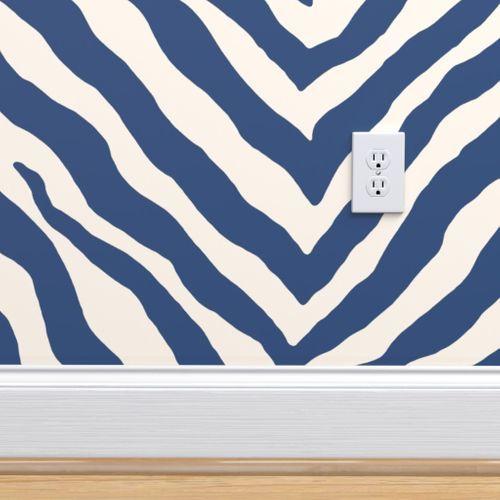 Zebra In Navy Spoonflower Peel And Stick Wallpaper Removable Wallpaper Wallpaper Roll