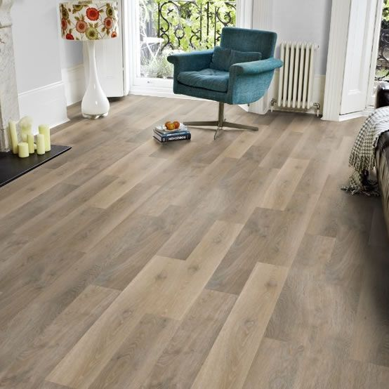 "Karndean KP99 Lime Washed Oak Knight Tile Vinyl Flooring looks like worn, sun-bleached driftwood. A good selection varied plank colours, and supplied in a 6"" wide plank for an authentic look."