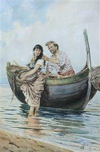 Corteggiamento del pescatore by Adelchi de Grossi