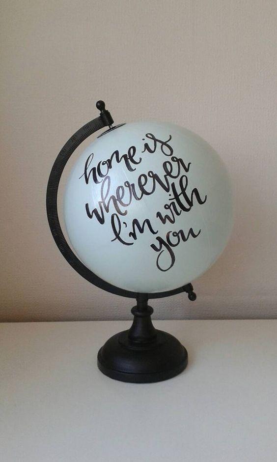 Handgemalte Globus von WholeWorldOfLove auf Etsy