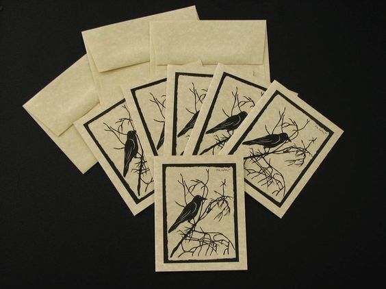 For the Love of Crows No1  set of 6 note cards by tinatarnoff, $10.00