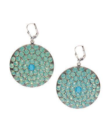 Look at this #zulilyfind! Pacific Opal Swarovski® Crystal & Silvertone Round Drop Earrings #zulilyfinds