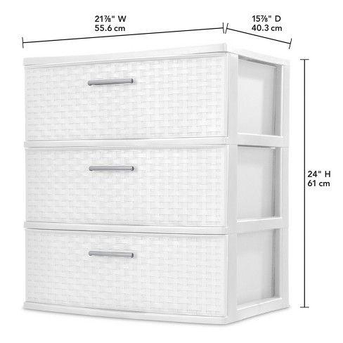 3 Drawer Wide Storage Tower White Sterilite Target Sterilite Plastic Storage Drawers Drawers
