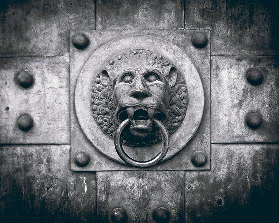 Lion head door knocker....LOVE this