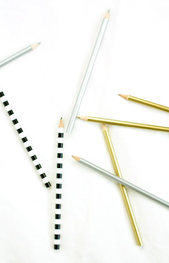 metallic + striped pencils