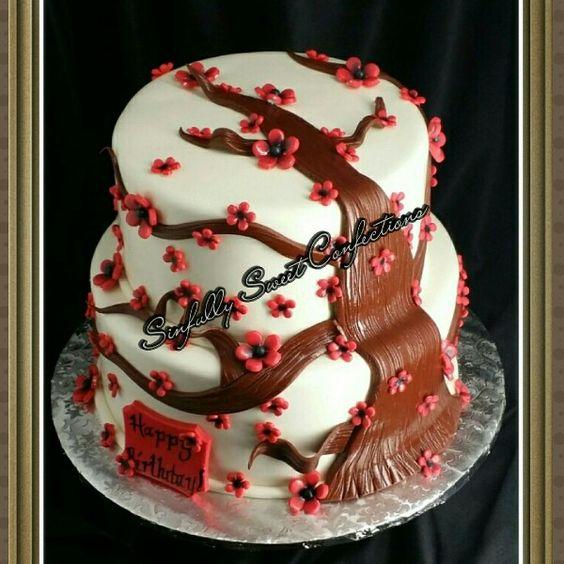 Cherry Blossoms Birthday Cake
