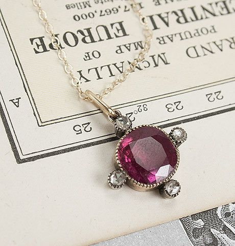 Early 20th Century Synthetic Ruby and Rose-cut Diamond Pendant, $795.00