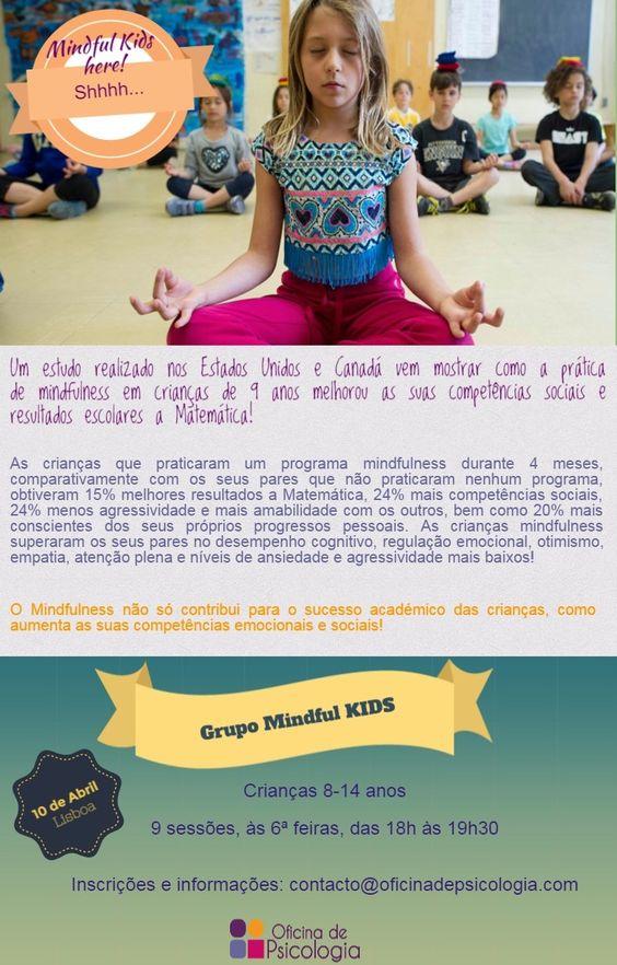 Estudo sobre o programa de Mindfulness aplicado a crianças, nomeadamente, os resultados em que melhoraram face a outras crianças que não fizeram o programa.