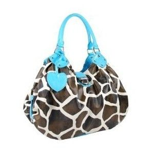 Giraffe print with light blue accents even better than the other one with red accents. YAY!!