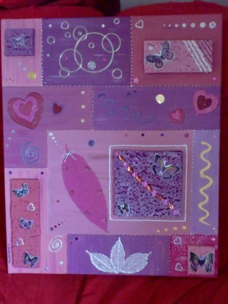 Tableau peint en acrylique dans les tons mauves et rose de for Tableau avec papier peint