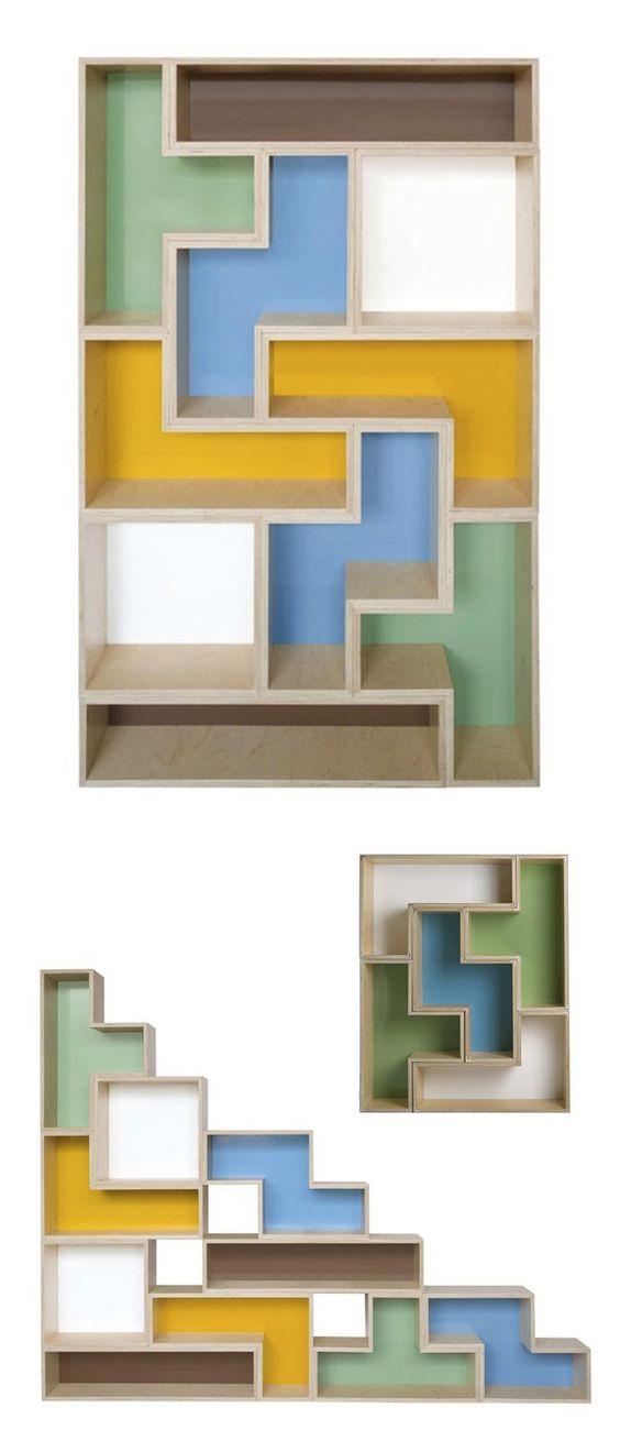 Bookshelves bookcases and bookshelf storage on pinterest for Tetris bookshelf