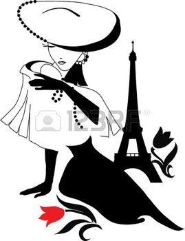 Belle silhouette vintage femme avec un grand chapeau photo: