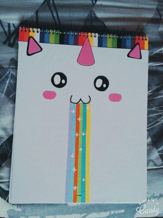 Lindo cuaderno decorado de unicornio con cartulina - Como adornar una cartulina ...