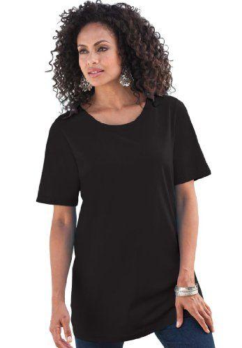Roamans Women's Plus Size Crew Neck Ultimate Tee (Black,3X)