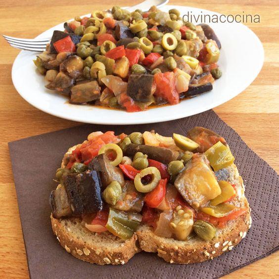 Esta receta de caponata siciliana es una delicia. Este plato de verduras puede tomarse templado o frío, y combina muchos sabores mediterráneos.