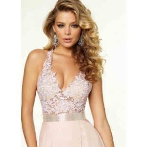 Halter Lace Chiffon Side Slit Beaded Blush Evening Gown