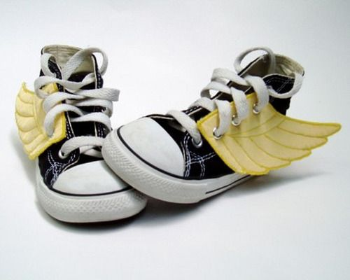 "Winged shoes! would be fun and easy to make out of paper and hole punch to give to girls for their GOTR 5K so they can ""soar""!"