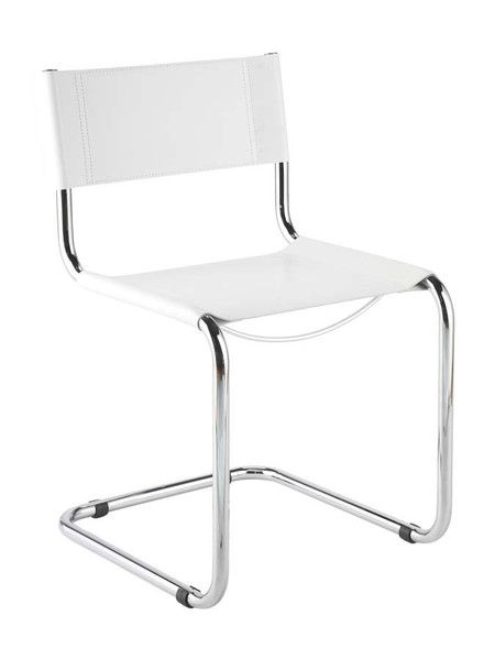 White leather dining chairs midcentury chrome modern for White chrome dining chairs
